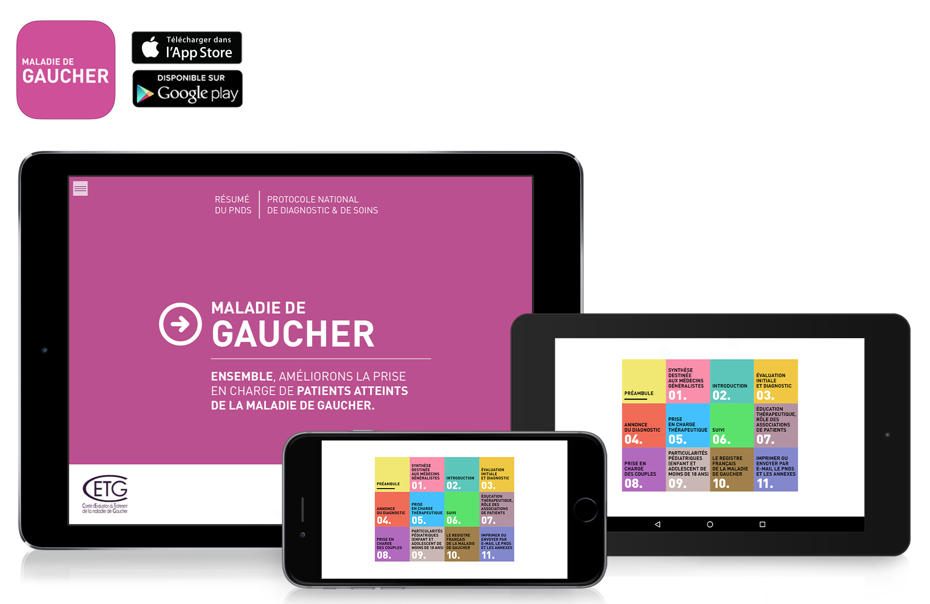 application-mono-publication-maladie-de-gaucher-ipad-iphone-android